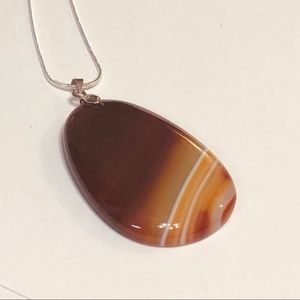 Banded Orange Brown & White Agate Necklace